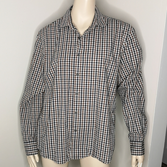 Black Brown 1826 Men's Checked Button Up Shirt